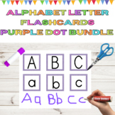 Uppercase and Lowercase Alphabet Letter Flashcards Purple Dot Bundle