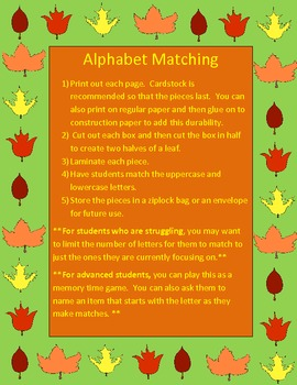 Uppercase and Lowercase Alphabet Matching Leaves