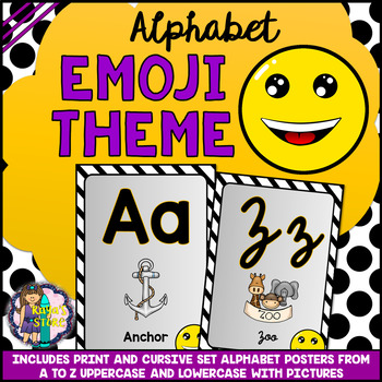 Uppercase and Lowercase Alphabet Posters Emoji Theme BACK TO SCHOOL