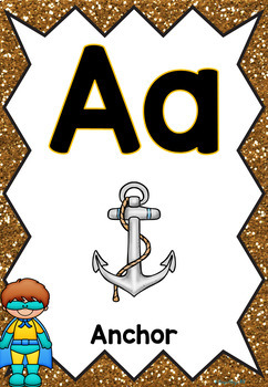 Uppercase and Lowercase Alphabet Posters Superhero Theme BACK TO SCHOOL