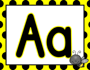 Alphabet Posters Word Wall Bulletin Board Set (Bee Themed)