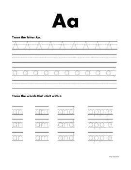Uppercase and Lowercase Handwriting Practice Plus Words
