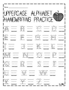 uppercase and lowercase handwriting practice sheet