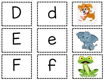 Uppercase and Lowercase Letter Matching Game Printable Lesson Plan