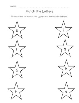 Uppercase and Lowercase Letter Matching Worksheets