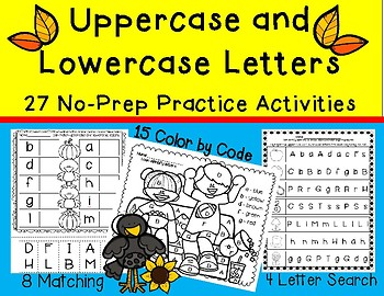 Match Uppercase and Lowercase Letter Practice - 27 No-Prep Activities