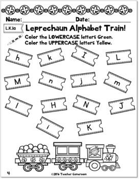 Uppercase and Lowercase Letters St. Patrick's Day Activity