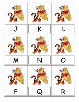 Uppercase and Lowercase Winnie-the-Pooh and Tigger Letter Cards