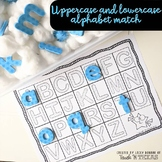 Uppercase and Lowercase alphabet matching mat with black stars background