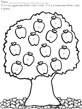 Identifying Uppercase and Lowercase Letters Apple Tree