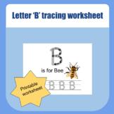 Uppercase letter 'B' tracing worksheet