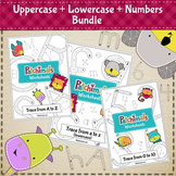 Uppercase letters, lowercase letters and numbers (tracing worksheets bundle)