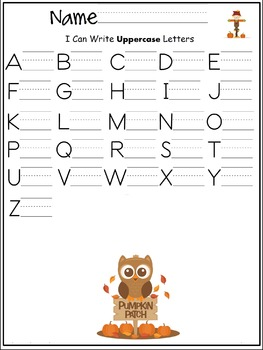 Uppercase letters of the alphabet writing worksheet- Autumn/ Fall/ September