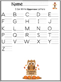 Uppercase letters of the alphabet writing worksheet- Autum