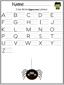 Uppercase letters of the alphabet writing worksheet- Halloween