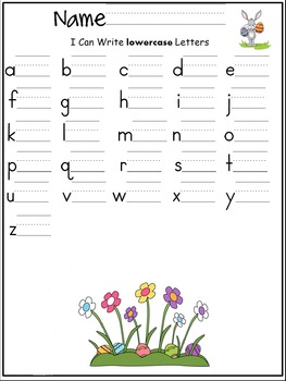 lowercase letters of the alphabet writing worksheet- Spring / April