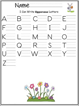 Uppercase letters of the alphabet writing worksheet- Spring / April