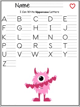 Uppercase letters of the alphabet writing worksheet- Valentines Day