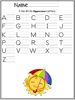 Uppercase letters of the alphabet writing worksheet- summer/ may