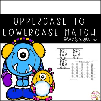 Uppercase to Lowercase Letter Match - Winter Themed B & W