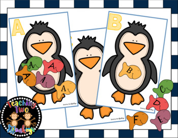 Uppercase to Uppercase Letter Match Feed the Penguin Activity