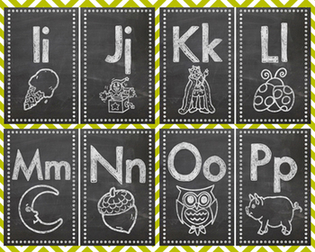 Uppercase/Lowercase Chalkboard Alphabet Flash Cards with Pictures