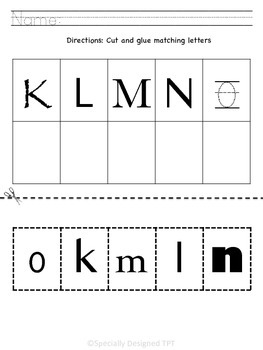 Uppercase/Lowercase Letter Matching Packet