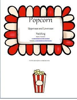 Upppercase and lowercase popcorn letter matching game