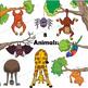 Upside Down Clip Art - Children and Animals Just Hanging Around