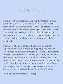 Upstander Week Handbook/Lesson Plans