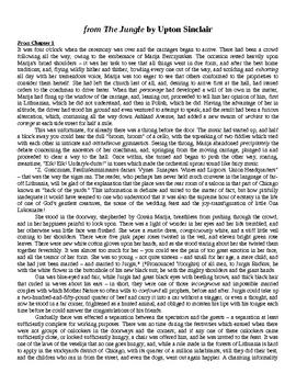 Upton Sinclair's The Jungle Excerpts Unit