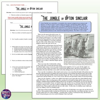 Upton Sinclair's The Jungle Reading, Worksheet, and Interactive Notebook Page