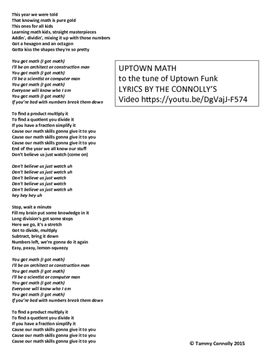 Uptown Math song lyrics