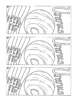 Uranus Printable Bookmark Solar System Coloring Page PDF