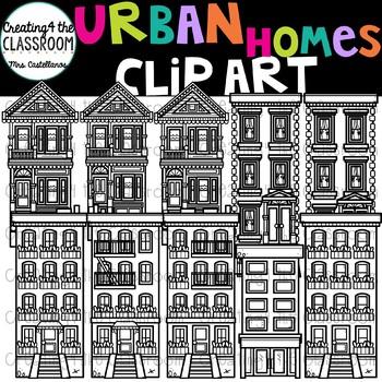 Urban Homes Clip Art  {Homes Clipart}