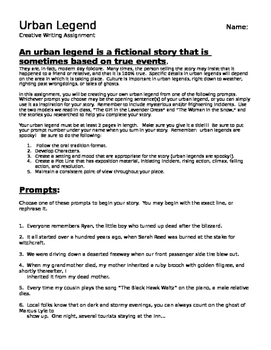 Urban Legends:  Close Reading, Research Project and Creative Writing Assignment
