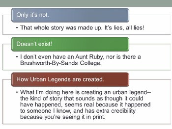 Urban Legends Powerpoint - Creative writing and research assignment