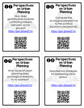 Urban Planning Task Cards Sociology