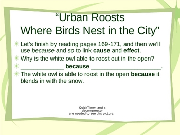 """""""Urban Roosts"""" - Cause and Effect Reading Lesson"""