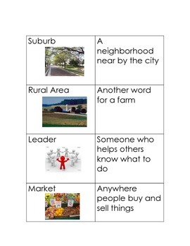 Urban, Rural, Suburban flash cards