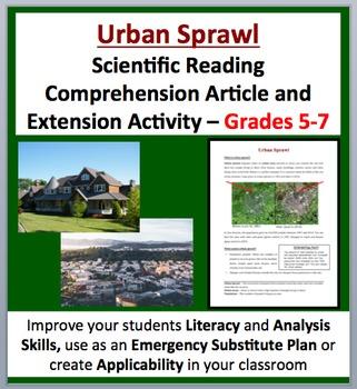 Urban Sprawl - Scientific Reading Comprehension Article – Grades 5-7