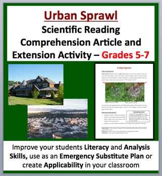 Urban Sprawl - Scientific Reading Comprehension Article –