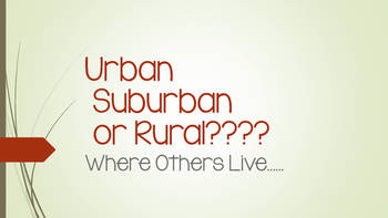 "Urban Suburban Rural - "" Where Others Live"""