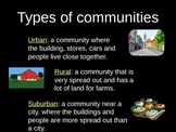 Urban, Suburban, and Rural PowerPoint Lesson with Graphic Organizer