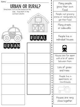 Urban or Rural? Cut and Paste Sorting Activity