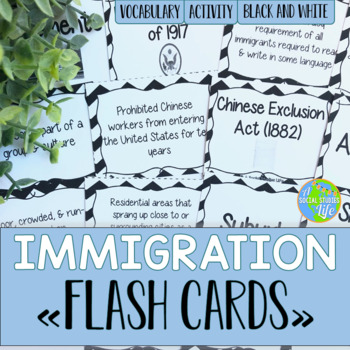 Urbanization and Immigration Flash Cards - Black and White