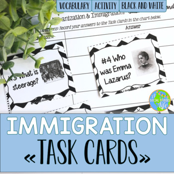 Urbanization and Immigration Task Cards - Black and White