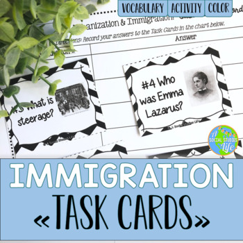 Immigration and Urbanization Task Cards and Recording Sheet