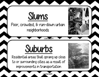 Urbanization and Immigration Word Wall - Black and White