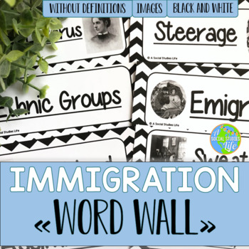 Urbanization and Immigration Word Wall without definitions - Black and White